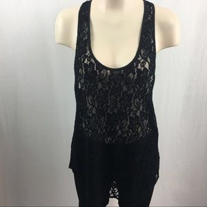 Aritzia Wilfred Black Madeline Lace Racerback Top